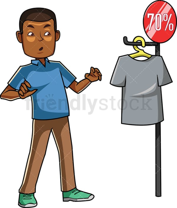Black man surprised by discount deal. PNG - JPG and vector EPS file formats (infinitely scalable). Image isolated on transparent background.