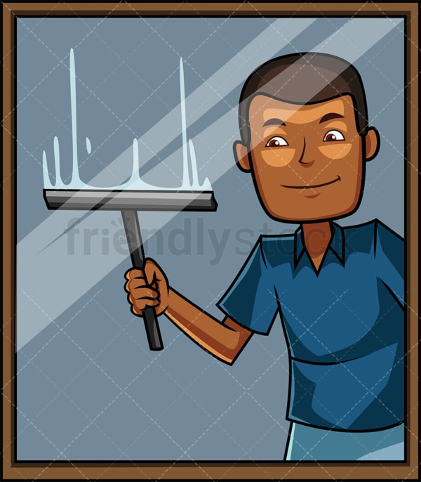 Black man window cleaning. PNG - JPG and vector EPS file formats (infinitely scalable). Image isolated on transparent background.