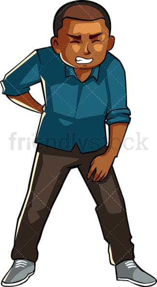 Black man with back pain. PNG - JPG and vector EPS file formats (infinitely scalable). Image isolated on transparent background.