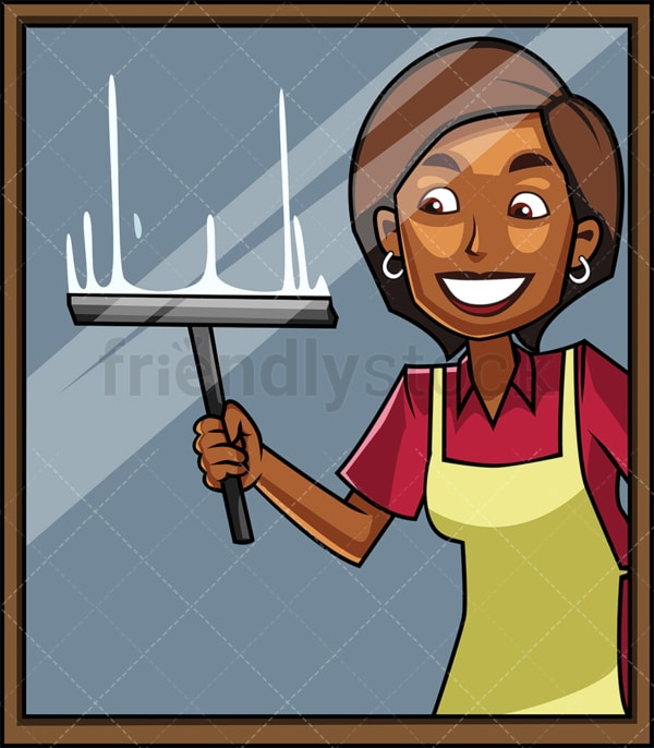 Black woman cleaning a window. PNG - JPG and vector EPS file formats (infinitely scalable). Image isolated on transparent background.