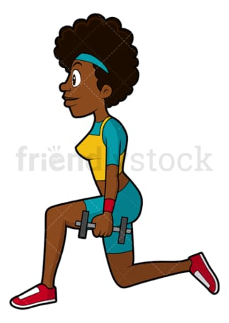 Black woman doing lunges with dumbbells. PNG - JPG and vector EPS file formats (infinitely scalable). Image isolated on transparent background.