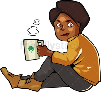 Black woman drinking hot coffee sitting outside. PNG - JPG and vector EPS file formats (infinitely scalable). Image isolated on transparent background.