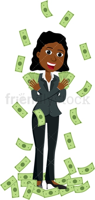 Black woman holding fan of money in each hand. PNG - JPG and vector EPS file formats (infinitely scalable). Image isolated on transparent background.