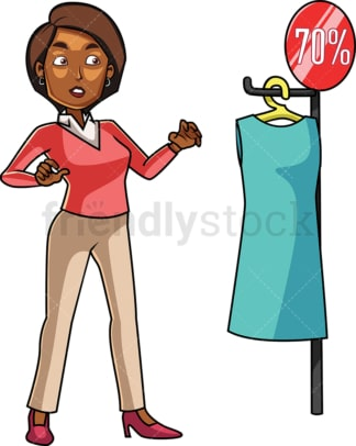 Black woman stunned by a dress on sale. PNG - JPG and vector EPS file formats (infinitely scalable). Image isolated on transparent background.