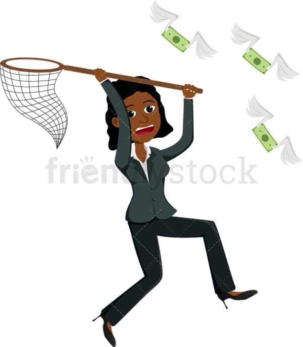 Black woman using net to capture money bills. PNG - JPG and vector EPS file formats (infinitely scalable). Image isolated on transparent background.