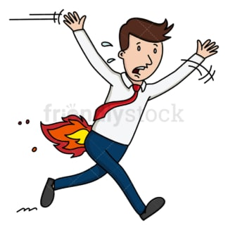Business man with his butt on fire. PNG - JPG and vector EPS file formats (infinitely scalable). Image isolated on transparent background.