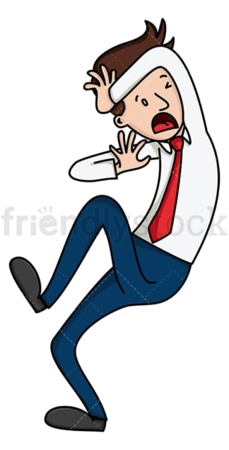 Businessman ducking for cover. PNG - JPG and vector EPS file formats (infinitely scalable). Image isolated on transparent background.