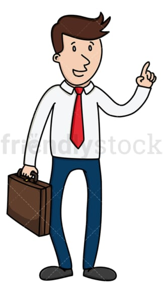 Businessman with briefcase making point. PNG - JPG and vector EPS (infinitely scalable).