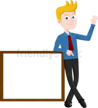 Businessman leaning against blank sign. PNG - JPG and vector EPS file formats (infinitely scalable). Image isolated on transparent background.
