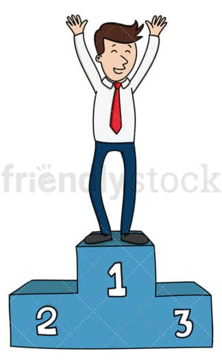 Businessman on winner pedestal. PNG - JPG and vector EPS (infinitely scalable).
