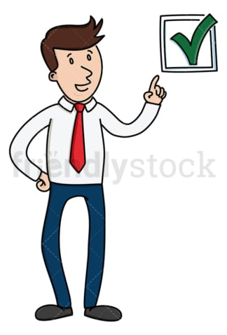 Businessman pointing to green check mark. PNG - JPG and vector EPS (infinitely scalable).
