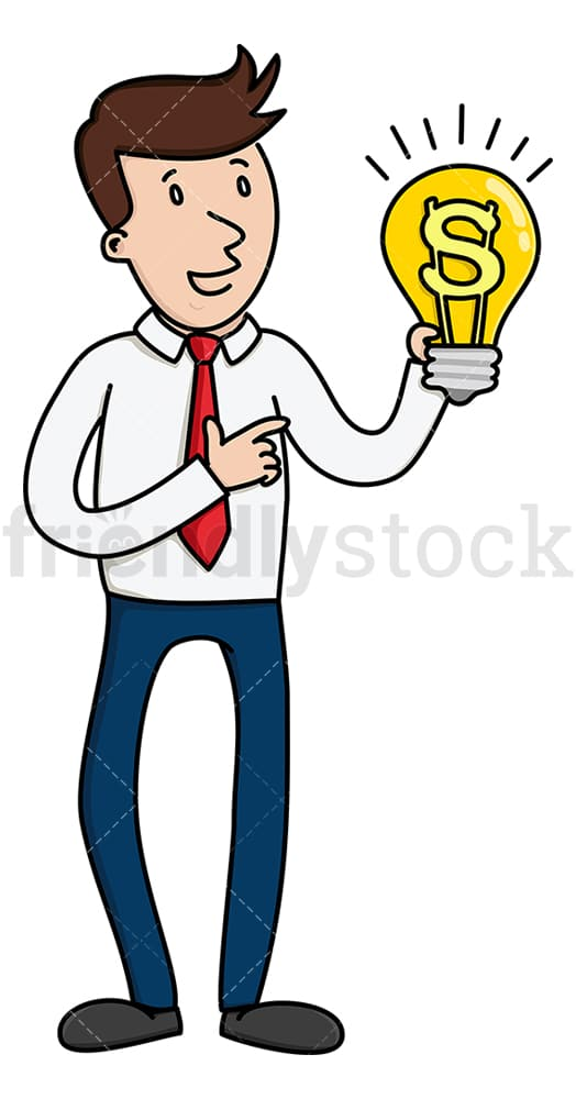 Businessman with a profitable idea. PNG - JPG and vector EPS (infinitely scalable).