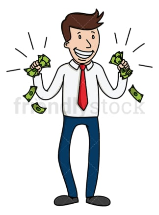 Businessman with fistfuls of cash. PNG - JPG and vector EPS (infinitely scalable).