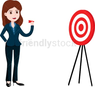 Businesswoman aiming straight for the bullseye. PNG - JPG and vector EPS file formats (infinitely scalable). Image isolated on transparent background.