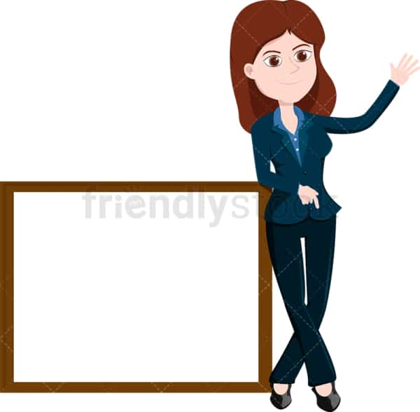 Businesswoman standing near a blank whiteboard. PNG - JPG and vector EPS file formats (infinitely scalable). Image isolated on transparent background.