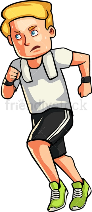 Caucasian man jogging. PNG - JPG and vector EPS file formats (infinitely scalable). Image isolated on transparent background.