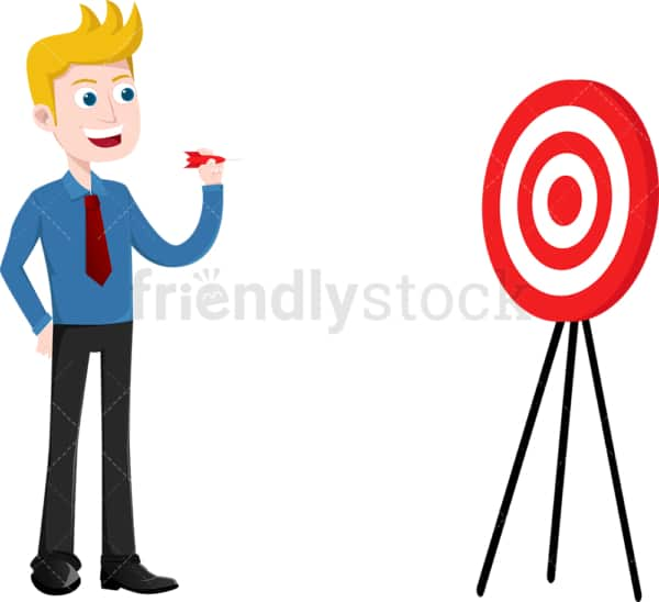 Confident businessman playing darts. PNG - JPG and vector EPS file formats (infinitely scalable). Image isolated on transparent background.