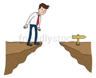 Corporate man stuck at the edge of cliff. PNG - JPG and vector EPS (infinitely scalable).
