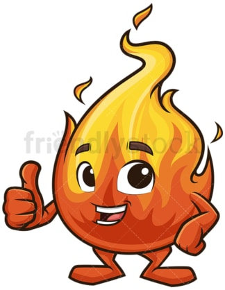 Fire mascot thumbs up. PNG - JPG and vector EPS (infinitely scalable).