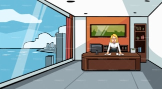 Furious business woman at the office. PNG - JPG and vector EPS file formats (infinitely scalable). Image isolated on transparent background.