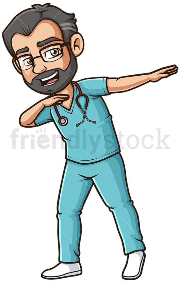 Male nurse dabbing. PNG - JPG and vector EPS file formats (infinitely scalable). Image isolated on transparent background.