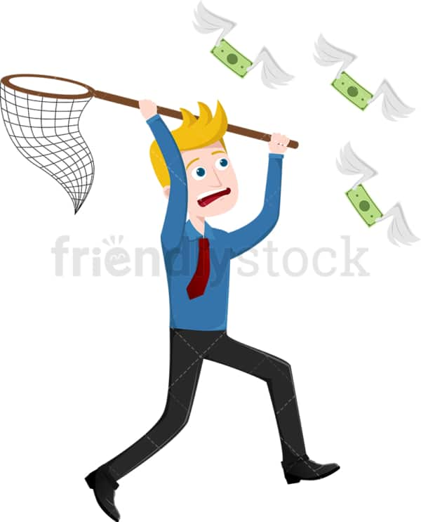Man chasing down money with net. PNG - JPG and vector EPS file formats (infinitely scalable). Image isolated on transparent background.