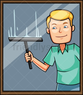 Man cleaning window with squeegee. PNG - JPG and vector EPS file formats (infinitely scalable). Image isolated on transparent background.