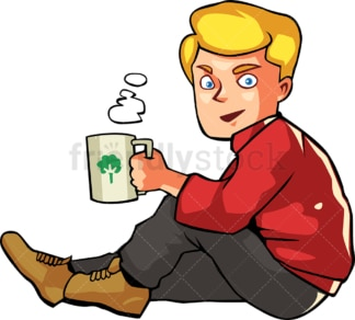 Man drinking hot coffee while seated outside. PNG - JPG and vector EPS file formats (infinitely scalable). Image isolated on transparent background.