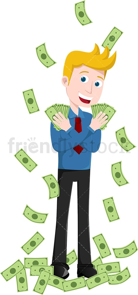 Man standing amidst deluge of money raining down. PNG - JPG and vector EPS file formats (infinitely scalable). Image isolated on transparent background.