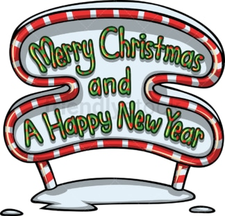 Merry christmas and a happy new year sign. PNG - JPG and vector EPS file formats (infinitely scalable). Image isolated on transparent background.