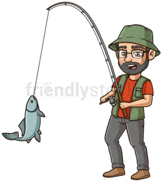 Middle-Aged man fishing. PNG - JPG and vector EPS (infinitely scalable).