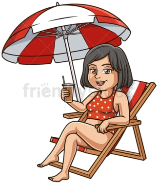 Middle-Aged woman at the beach. PNG - JPG and vector EPS (infinitely scalable).