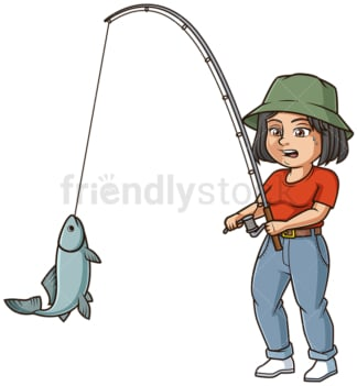 Middle-Aged woman fishing. PNG - JPG and vector EPS (infinitely scalable).