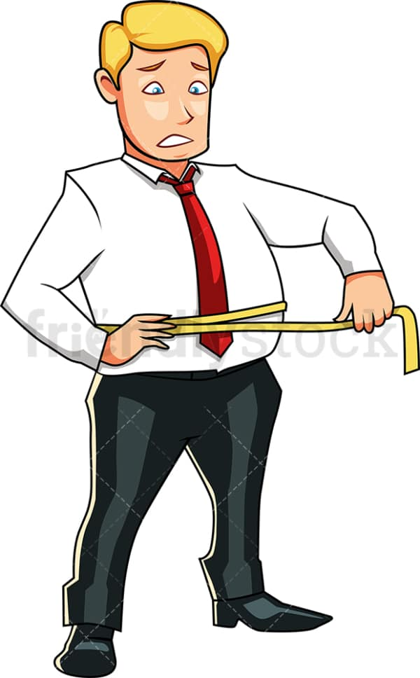 Overweight man measuring his waist. PNG - JPG and vector EPS file formats (infinitely scalable). Image isolated on transparent background.