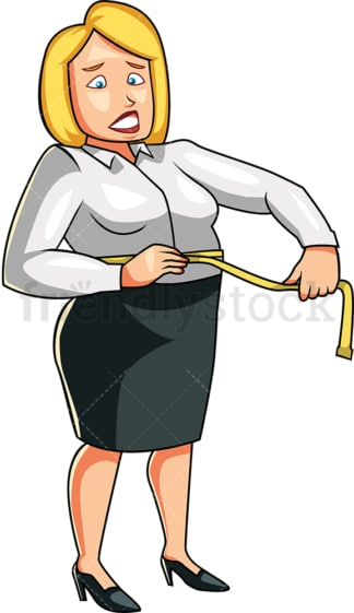 Overweight woman measuring her waist. PNG - JPG and vector EPS file formats (infinitely scalable). Image isolated on transparent background.