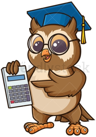 Owl math teacher with calculator. PNG - JPG and vector EPS (infinitely scalable).