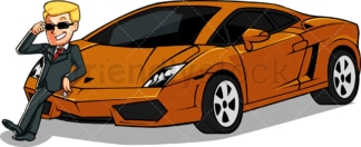 Rich man showing off his sports car. PNG - JPG and vector EPS file formats (infinitely scalable). Image isolated on transparent background.