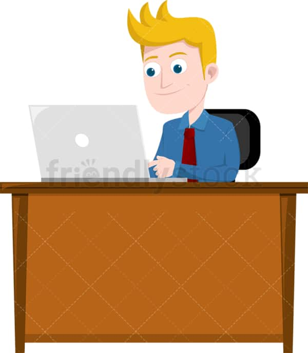 Smiling man typing on laptop at work. PNG - JPG and vector EPS file formats (infinitely scalable). Image isolated on transparent background.