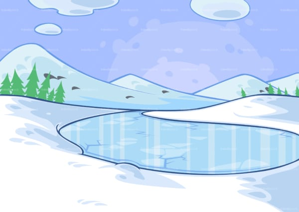Winter frozen lake background. PNG - JPG and vector EPS file formats (infinitely scalable). Image isolated on transparent background.