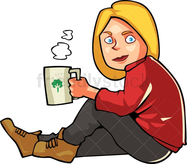 Woman drinking hot coffee sitting outside. PNG - JPG and vector EPS file formats (infinitely scalable). Image isolated on transparent background.