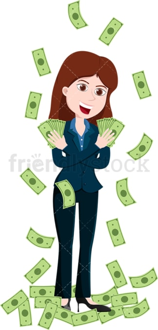 Woman holding fan of money with each hand. PNG - JPG and vector EPS file formats (infinitely scalable). Image isolated on transparent background.