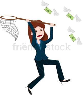 Woman using net to catch money bills flying away. PNG - JPG and vector EPS file formats (infinitely scalable). Image isolated on transparent background.