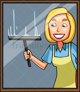 Woman with squeegee window cleaning. PNG - JPG and vector EPS file formats (infinitely scalable). Image isolated on transparent background.
