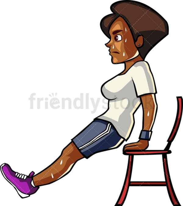 A blAck womAn doing chAir dips. PNG - JPG and vector EPS file formats (infinitely scalable). Image isolated on transparent background.
