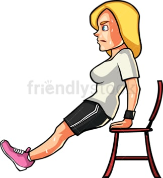 A blonde womAn doing chAir dips. PNG - JPG and vector EPS file formats (infinitely scalable). Image isolated on transparent background.