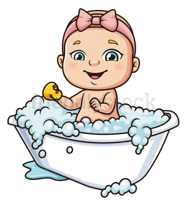 Baby girl taking a bath. PNG - JPG and vector EPS (infinitely scalable).