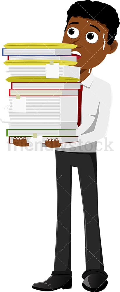 Black businessman carrying a load of paperwork. PNG - JPG and vector EPS file formats (infinitely scalable). Image isolated on transparent background.