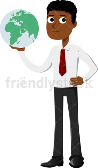 Black businessman holding the world in his hands. PNG - JPG and vector EPS file formats (infinitely scalable). Image isolated on transparent background.