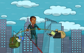Black businessman on tied rope over the city. PNG - JPG and vector EPS file formats (infinitely scalable). Image isolated on transparent background.
