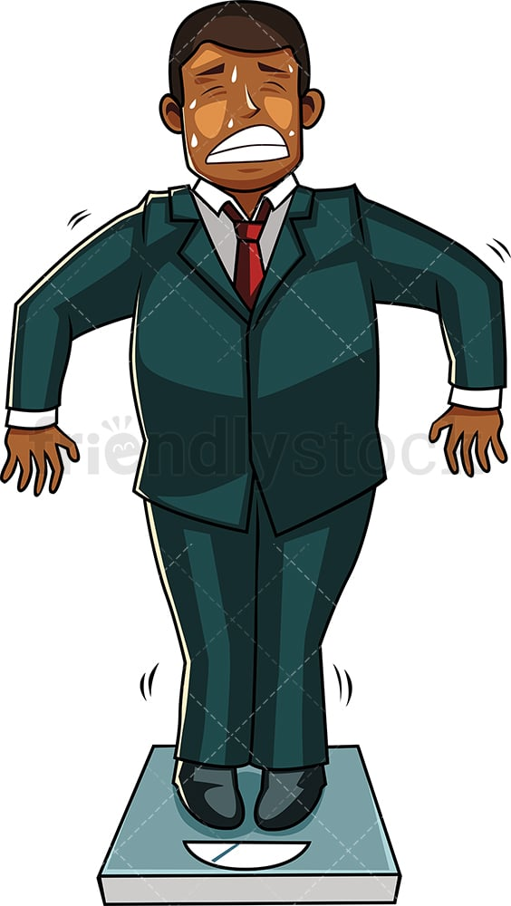 Black businessman on weight scale. PNG - JPG and vector EPS file formats (infinitely scalable). Image isolated on transparent background.